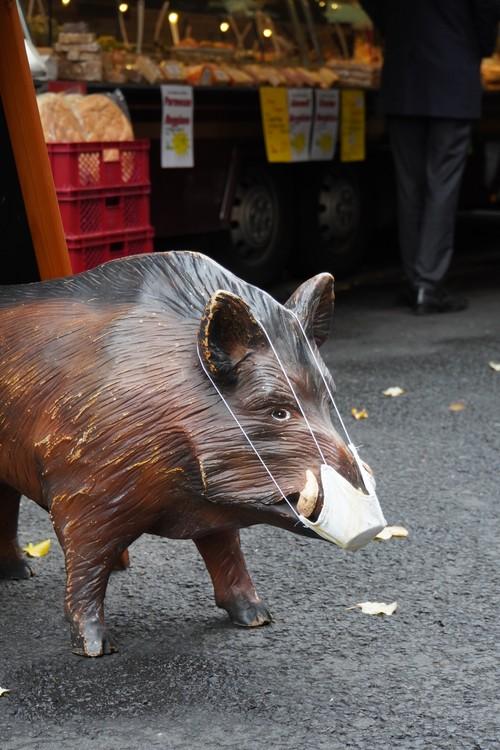 Wildschwein-Statue mit Mundschutz auf dem Wochenmarkt Kaiserstraße