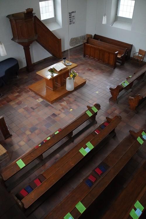 Französisch reformierte Kirche Offenbach. Platzhalter für Abstand