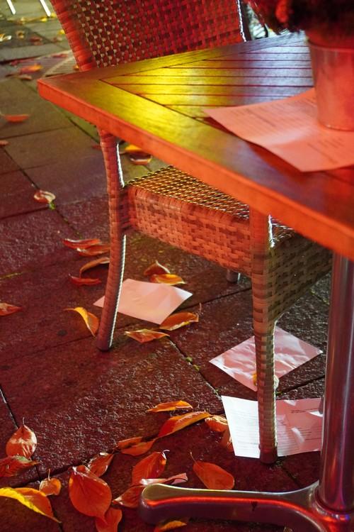 Registrierungszettel auf Tisch und Boden. Laub. Restaurant/ Bar Bull and Bear am Börsenplatz