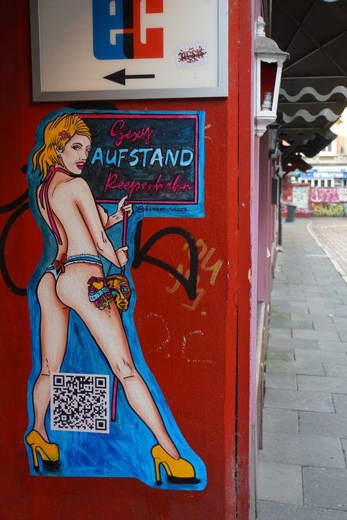 S*xy Aufstand Reeperbahn. Zeichnung. Prostitution. Herberstrasse St. Pauli
