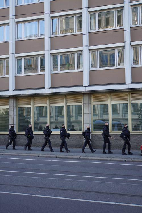 Am Tag der Querdenken Demo. Polizei