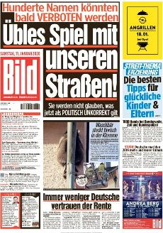 Bild-Zeitung 11. Januar 2020