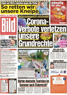 Bild-Zeitung 20. April 2020