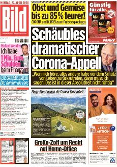Bild-Zeitung 27. April 2020