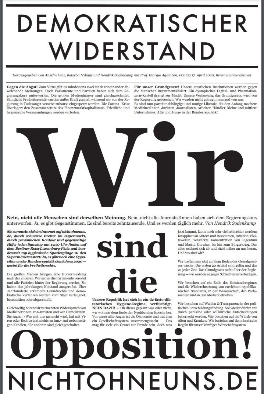 Cover Demokratischer Widerstand Zeitung 1 2020
