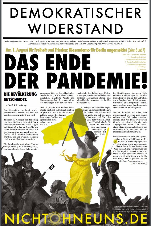 Cover Demokratischer Widerstand Zeitung 10 2020
