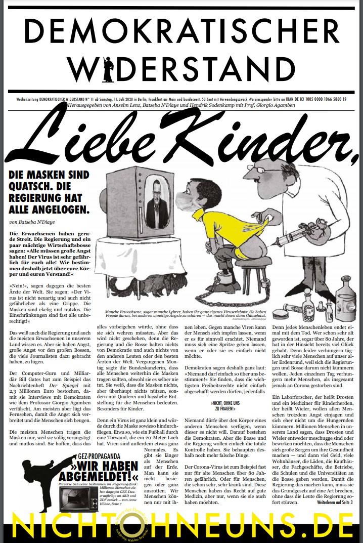 Cover Demokratischer Widerstand Zeitung 11 2020