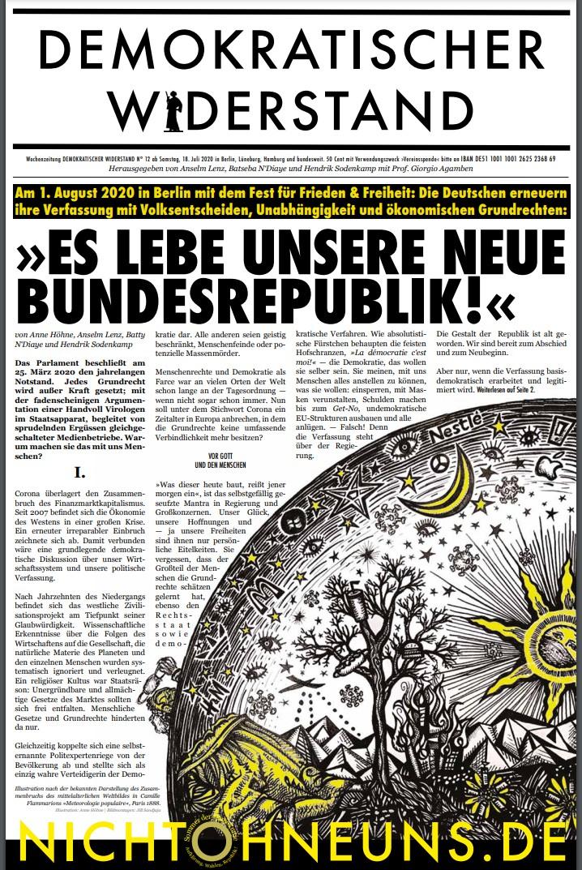 Cover Demokratischer Widerstand Zeitung 12 2020