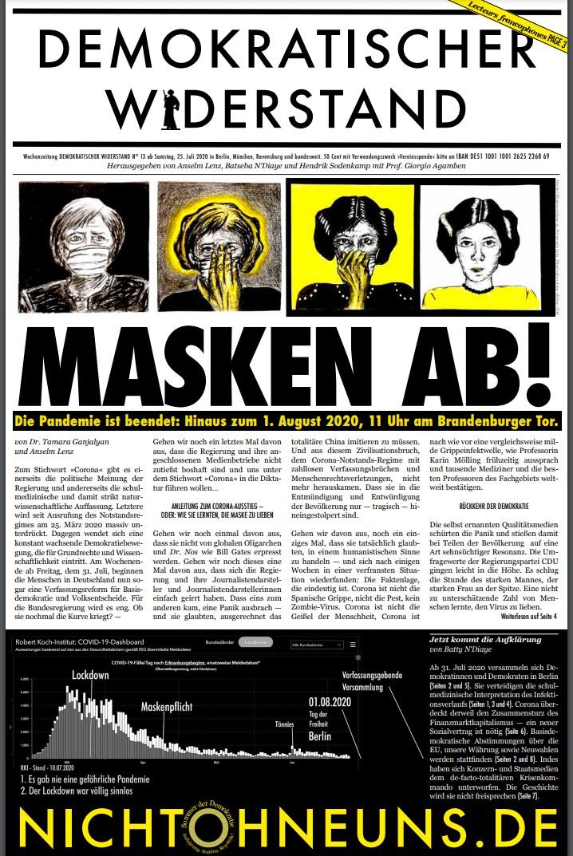 Cover Demokratischer Widerstand Zeitung 13 2020