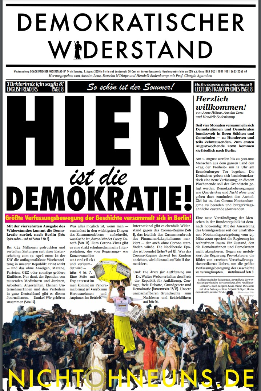 Cover Demokratischer Widerstand Zeitung 14 2020