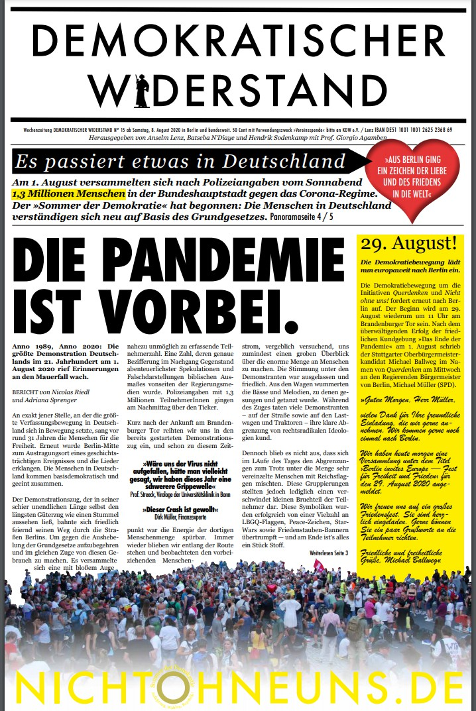 Cover Demokratischer Widerstand Zeitung 15 2020