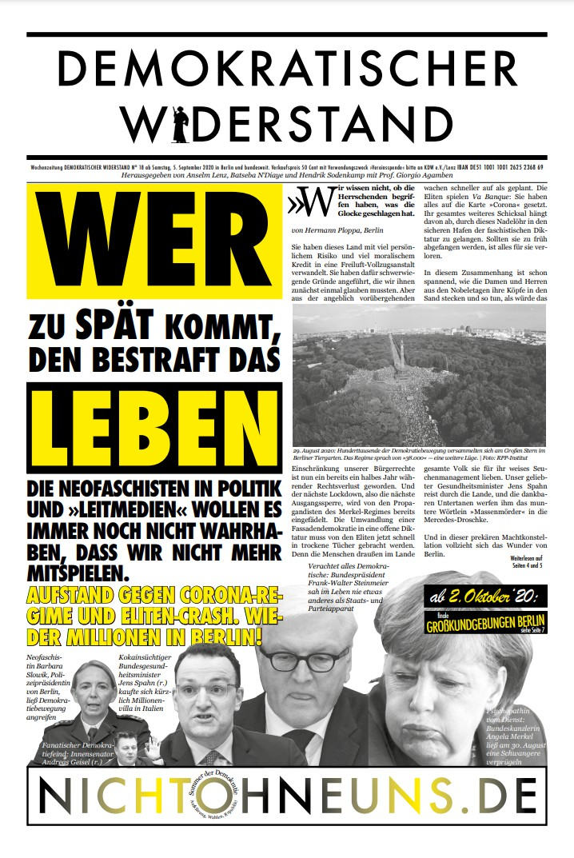 Cover Demokratischer Widerstand Zeitung 18 2020