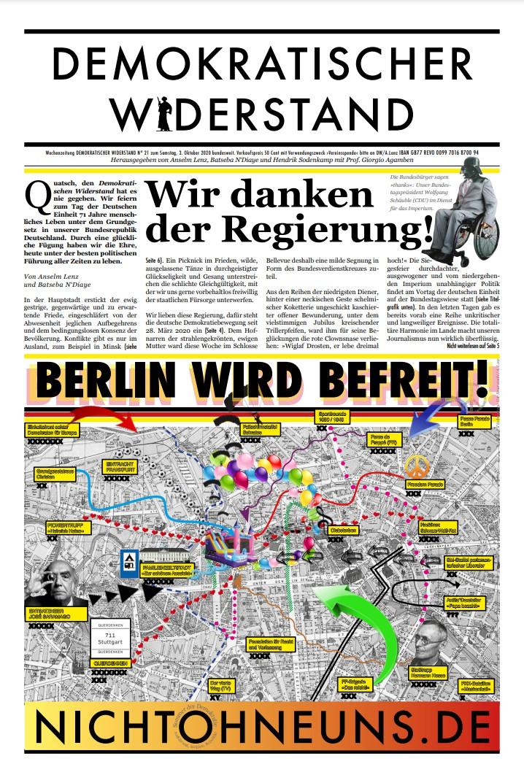 Cover Demokratischer Widerstand Zeitung 21 2020