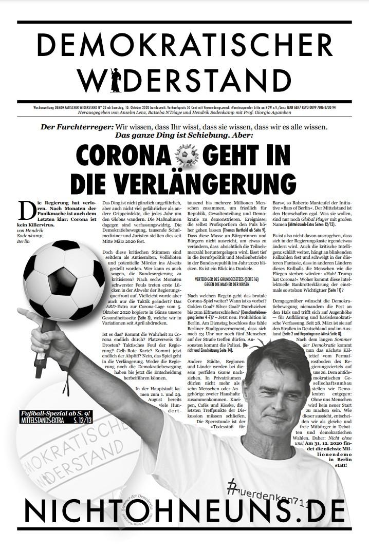 Cover Demokratischer Widerstand Zeitung 22 2020