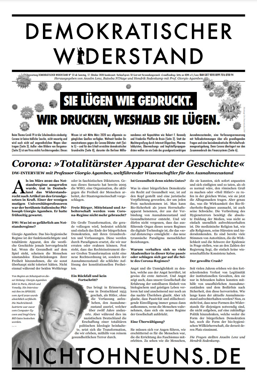 Cover Demokratischer Widerstand Zeitung 23 2020
