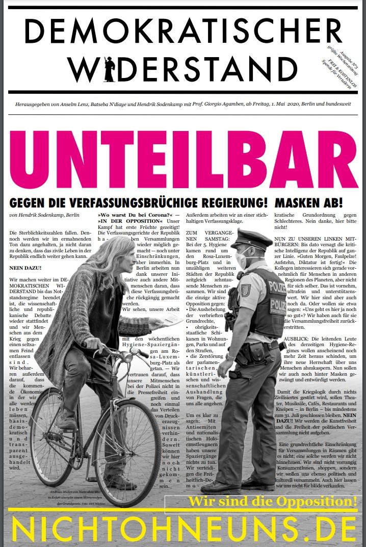 Cover Demokratischer Widerstand Zeitung 3 2020