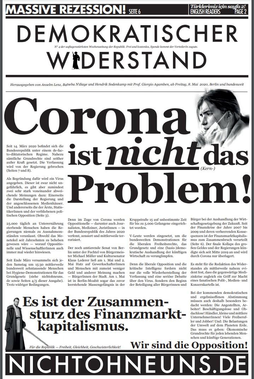 Cover Demokratischer Widerstand Zeitung 4 2020