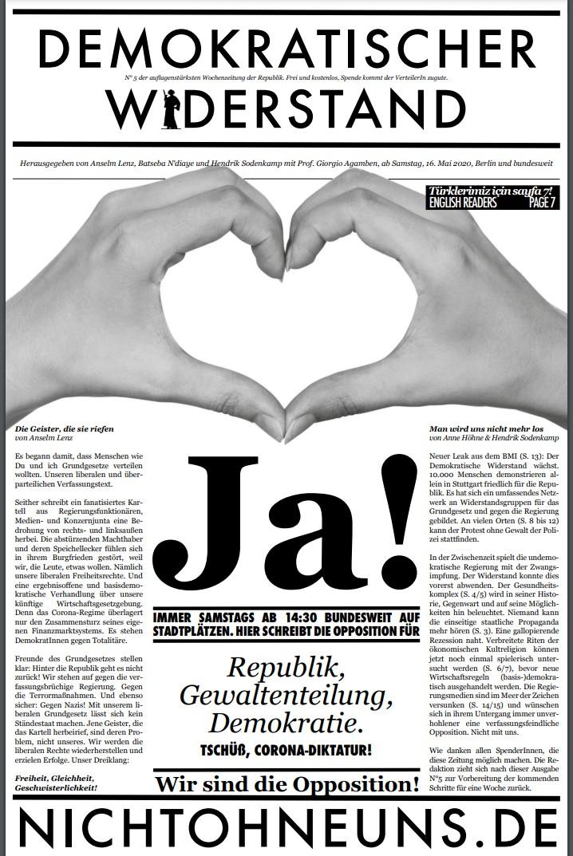 Cover Demokratischer Widerstand Zeitung 5 2020