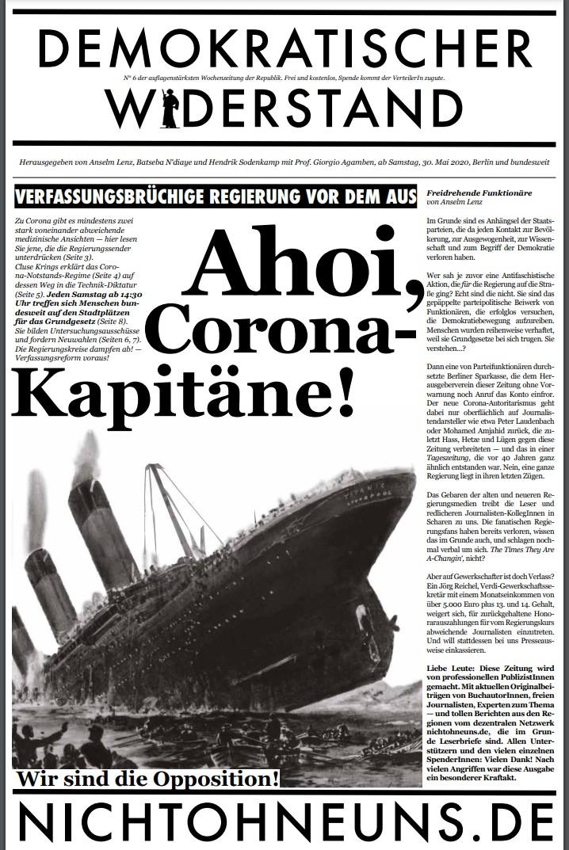 Cover Demokratischer Widerstand Zeitung 6 2020