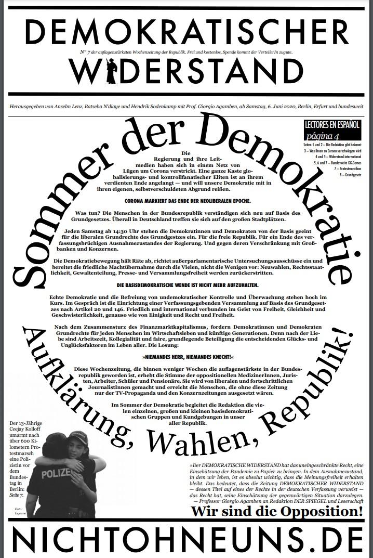 Cover Demokratischer Widerstand Zeitung 7 2020