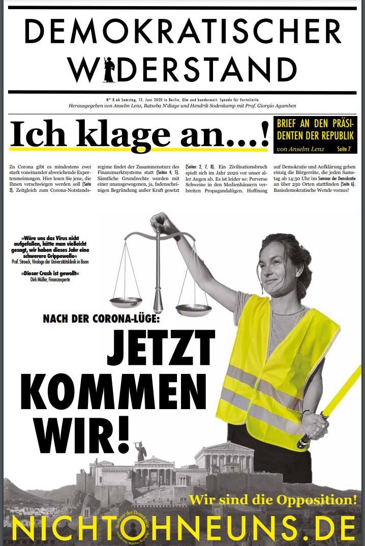 Cover Demokratischer Widerstand Zeitung 8 2020